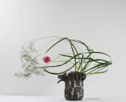 Louise Worner tulip, asparagus fern and lilirope