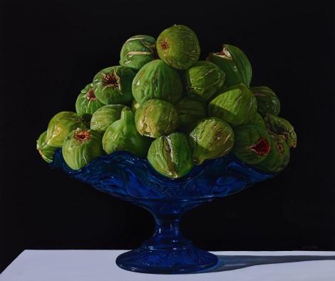Giuseppe Carta_Grande composizione con fichi su alzatina blu_2016-2017, olio su tela cm 55x65_allrightsreserved
