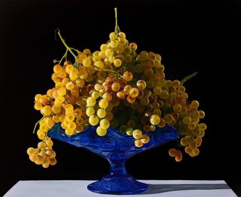 Giuseppe Carta_Grande composizione con uva su alzatina blu_2016-2017 olio su tela cm 45x55_allrightsreserved
