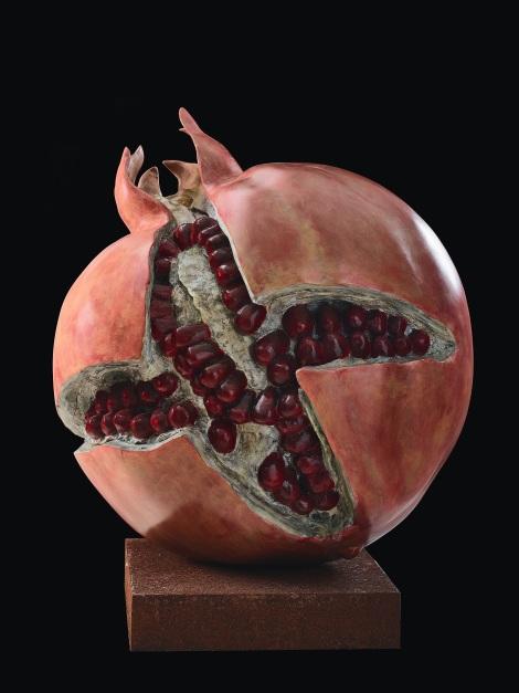 GiuseppeCarta_Germinazione Melagrana rossa, bronzo policromo, fusione a cera persa, cm 54x51x73h_scultura_allrightsreserved